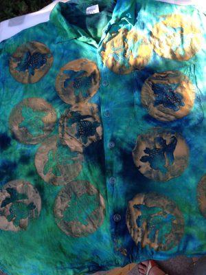 Goldfish stencils on pre-dyed shirt