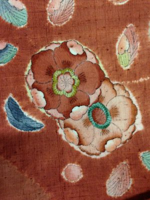 Close-up of tsujigahana piece, showing the delicate detail of the brush strokes.