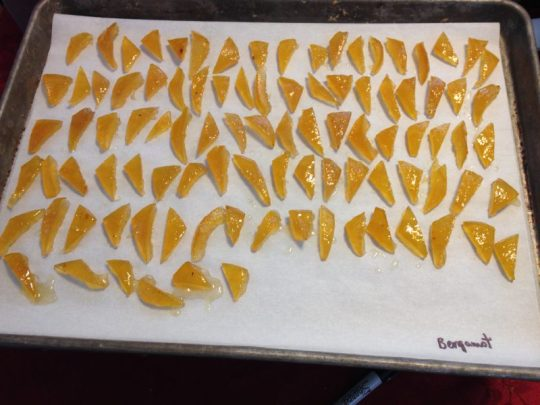 candied bergamot peel, ready for dipping