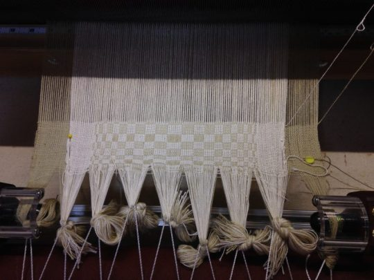 double weave warp on the loom