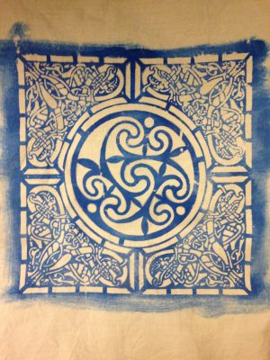 Celtic knotwork in screen printed katazome paste