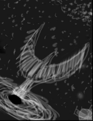 rough sketch of a phoenix rising out of a black hole