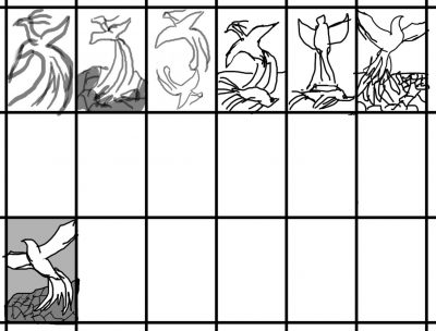thumbnail sketches of a phoenix being reborn