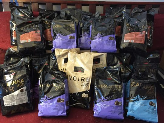 63 kg (138 pounds) of Valrhona chocolate