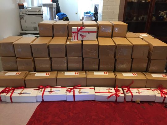 chocolates, packed for shipping