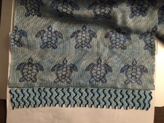 sea turtle scarf - finished fringe