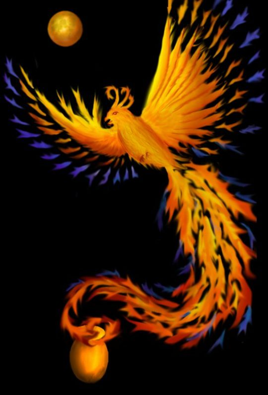 memorial piece for my mom - a phoenix rising from a cremation urn