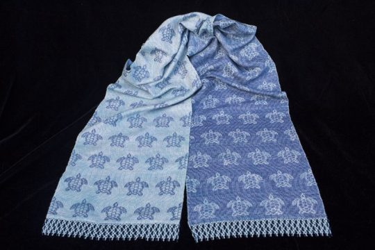 """Under the Sea"" - handwoven sea turtle scarf"