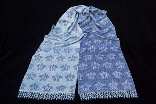 """Under the Sea"" - handwoven sea turtle scarf"