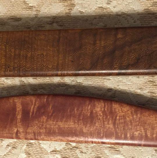 pheasantwood and curly andiroba shuttles - closeup