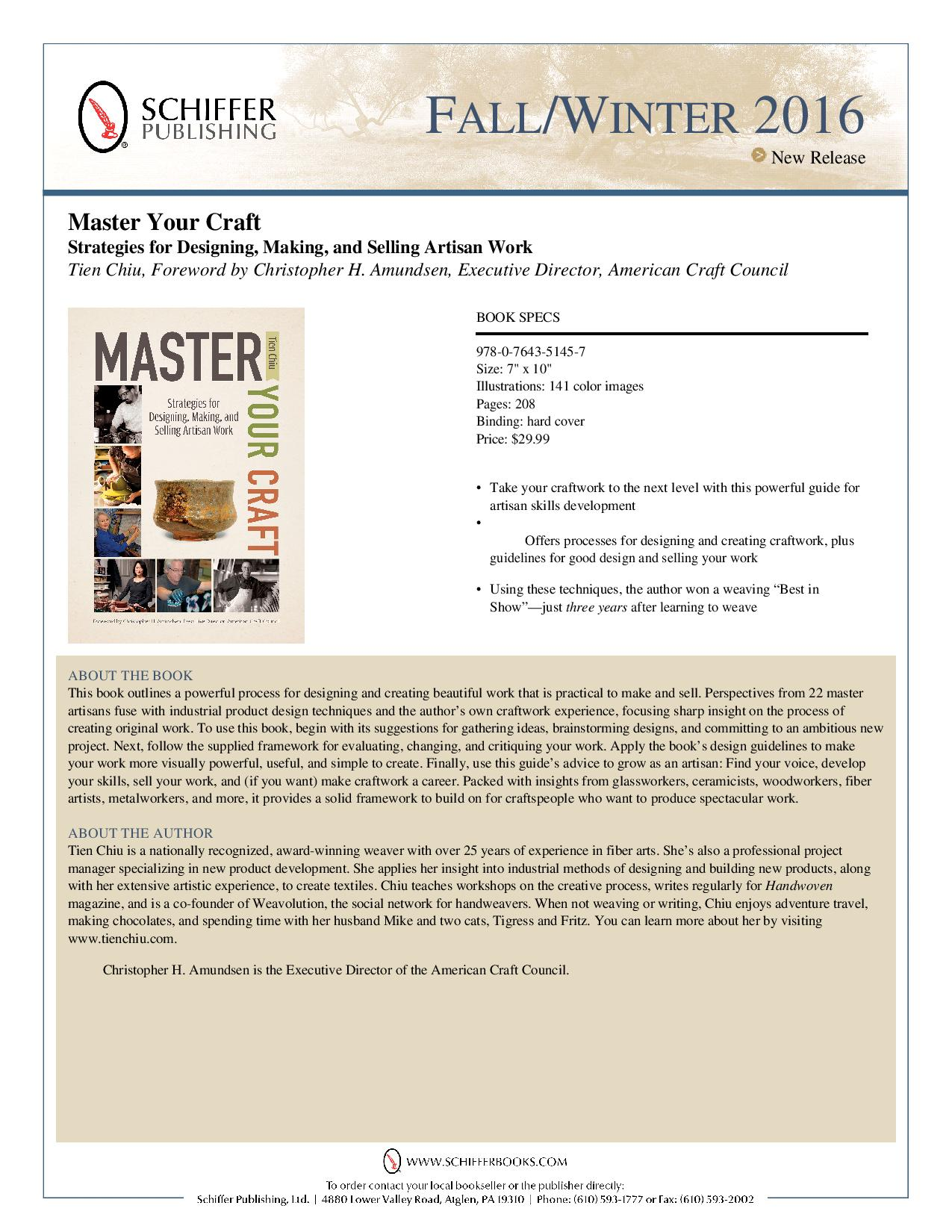 Sales flyer for Master Your Craft: Designing, Making, and Selling Artisan Work