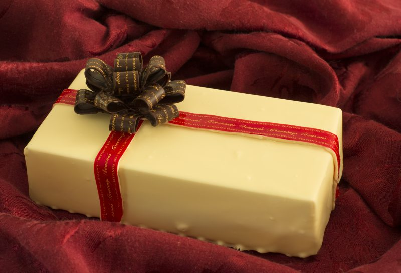 white chocolate box, dark chocolate bow, red ribbon