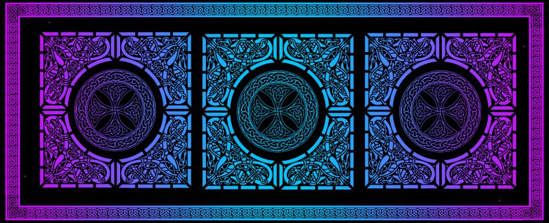 Celtic knotwork black and gradient, reverse side