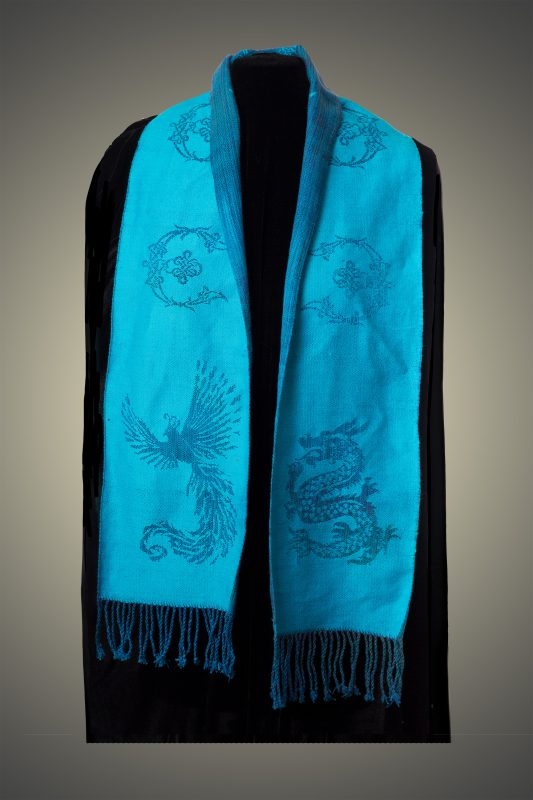 blue phoenix-dragon scarf, back side