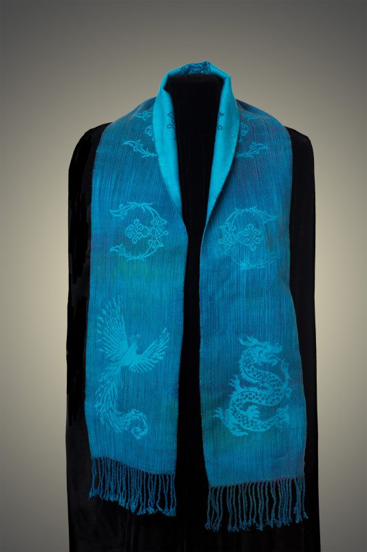 blue phoenix-dragon scarf, front side