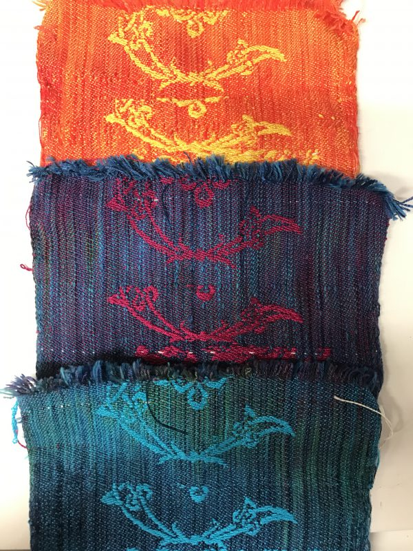 second set of samples for Kathy's dragon-and-phoenix scarves