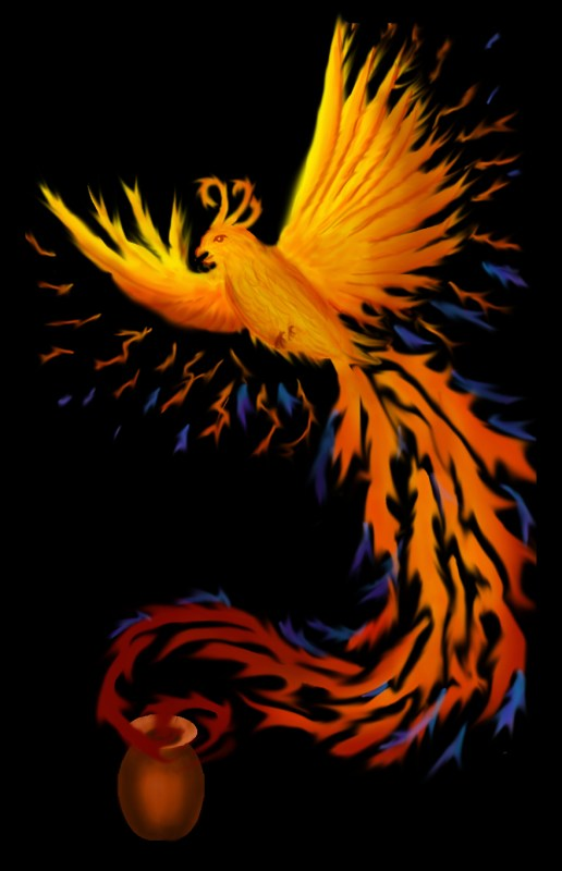 phoenix with a better-drawn cremation urn