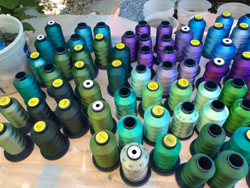 rayon machine embroidery thread - greens