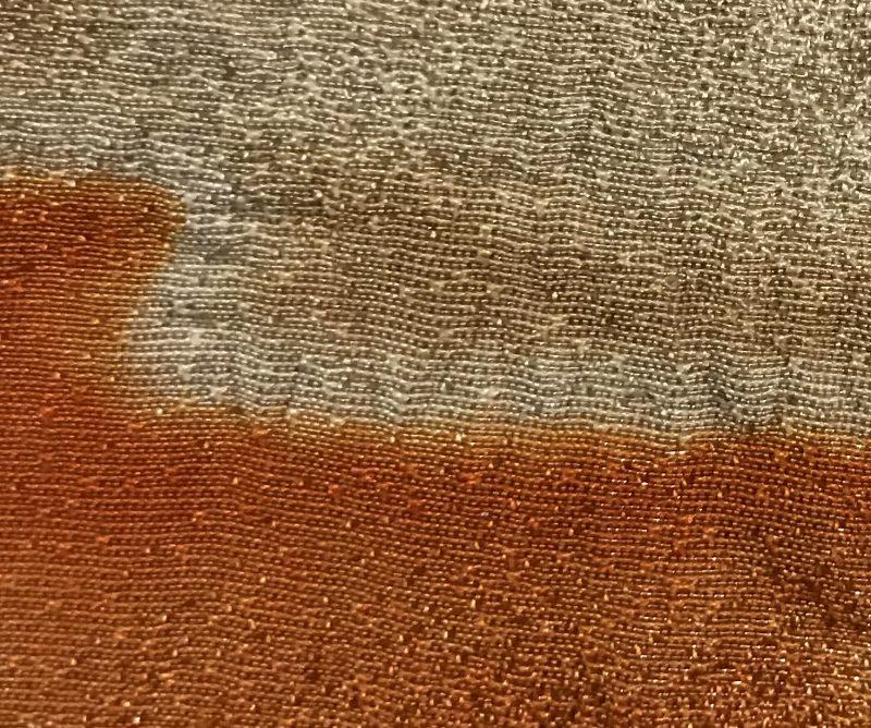 Super close view of the left sleeve of Itchiku Kubota's Burning Sun