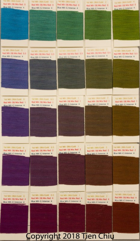Procion MX fiber-reactive dye samples on cotton: Golden Yellow, Mixing Red, and Intense Blue- dark cube