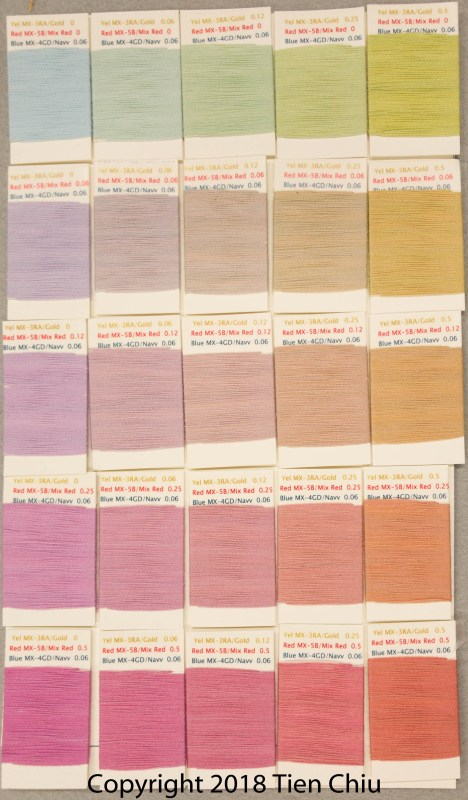Procion MX fiber-reactive dye samples on cotton: Gold, Mixing Red, Strong Navy - light cube