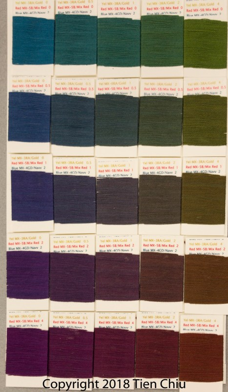 Procion MX fiber-reactive dye samples on cotton: Gold, Mixing Red, Strong Navy - dark cube