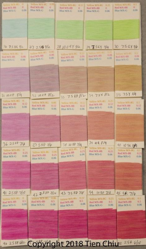 Procion MX fiber-reactive dye samples on cotton: Sun Yellow, Fuchsia, Turquoise - light cube