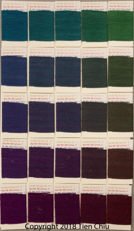 Procion MX fiber-reactive dye samples on cotton: Sun Yellow - Fuchsia - Deep Navy- dark cube