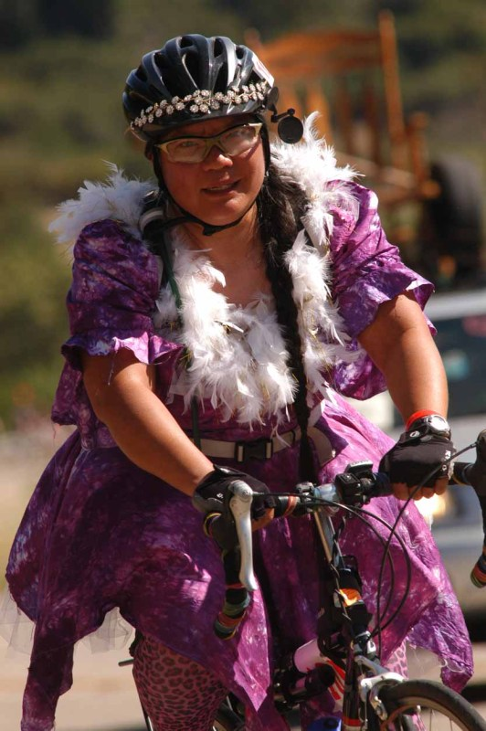 What happens when fashionista fiber artists get on a bike...