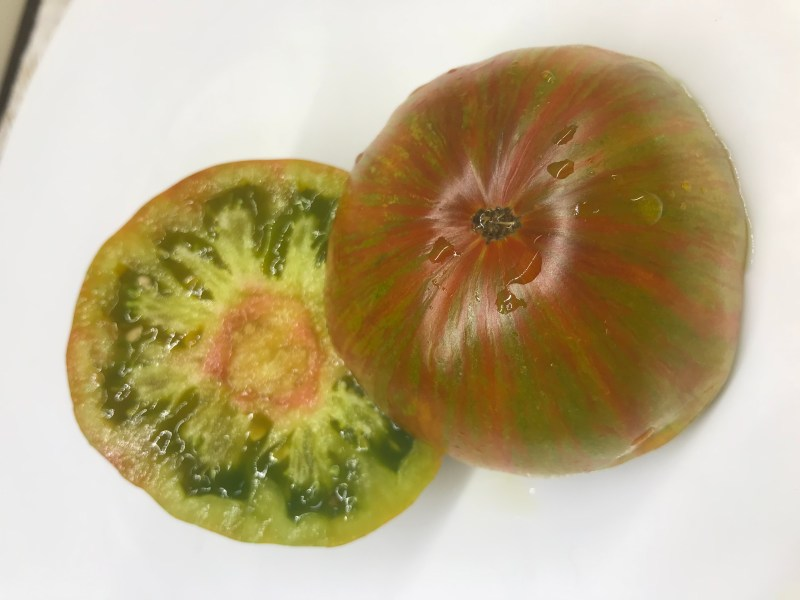 A Berkeley Tie-Dye tomato I grew last year - red, green, and yellow stripes