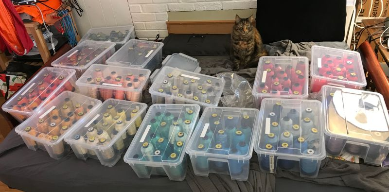 Full collection of rayon machine embroidery threads. (With cat.)