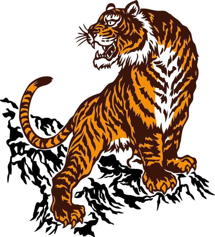 stylized drawing of tiger