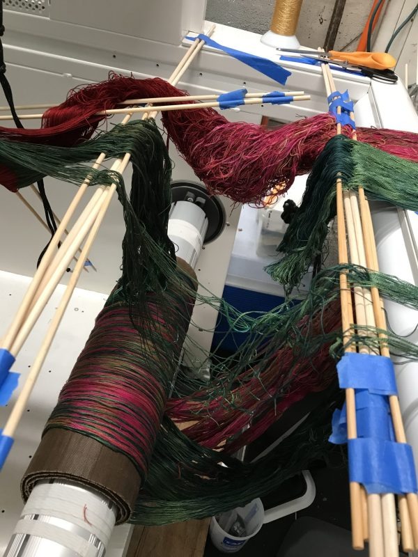 sample warp, partly tied on