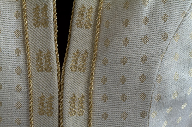closeup of wedding coat