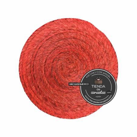 Mantel de Palma Redondo Color Naranja en Tienda de Canastas