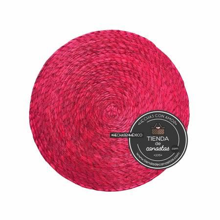 Mantel de Palma Redondo Color Rojo en Tienda de Canastas