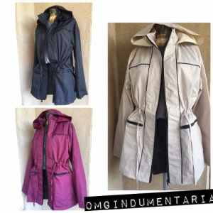 Campera Mujer Impermeable Rompeviento Capucha Talles Grandes