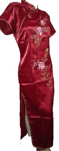 Kimono Largo Con Flores Bordo