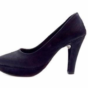 Stilettos Con Plataforma - Negro-blanco-suela-rojo-coral