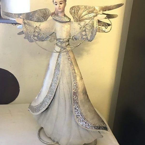 angel artistico blanco y plateado 2