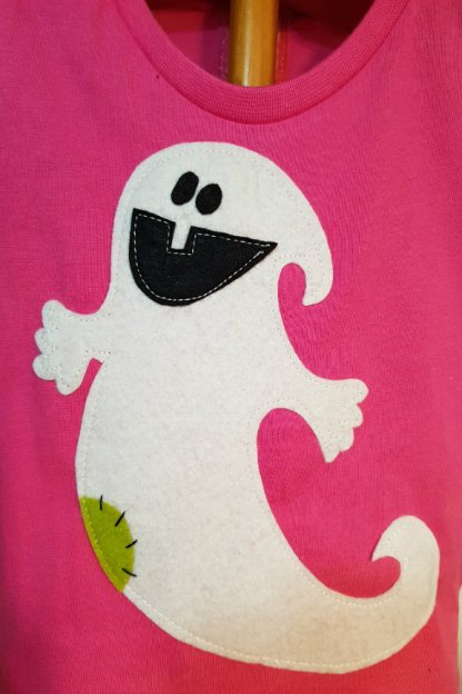 camiseta infantil de fantasma fucsia