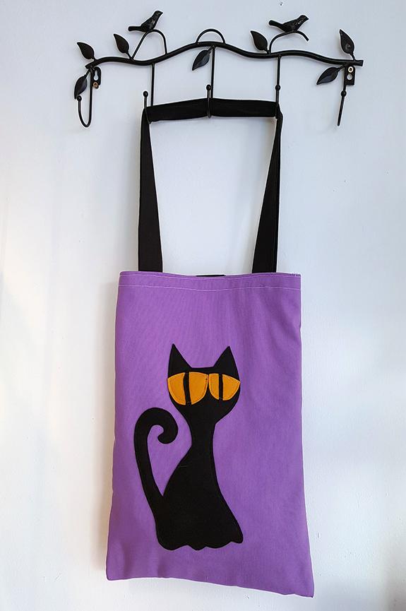 bolsode tela gato negro