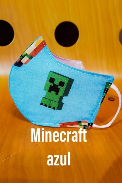 Mascarilla Minecraft azul