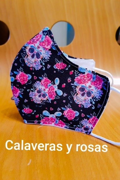 mascarilla Calaveras y Rosas