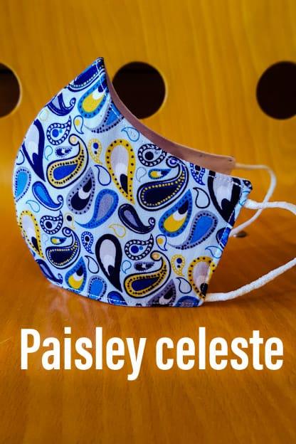 mascarilla Paisley celeste