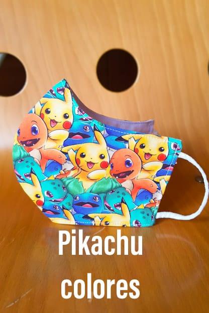 mascarilla de tela Pikachu colores