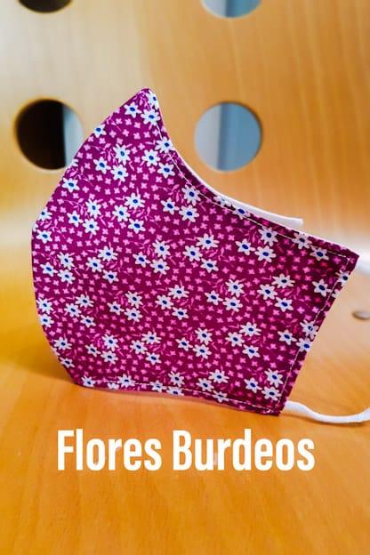 mascarilla de tela reutilizable Flores Burdeos