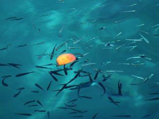 Fisch bei der Nahrungsaufnahme