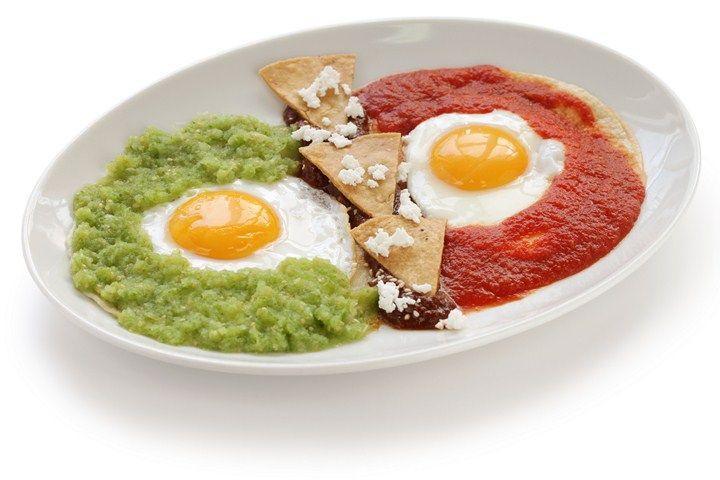 Huevos Divorciados Divorced eggs with homemade salsas