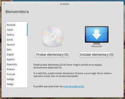 Probar o Instalar Elementary OS